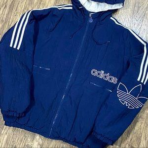 Vintage Adidas Trefoil Quilt Lined Hooded Jacket